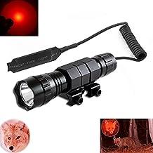 Windfire CREE LED rojo linterna táctica Rifle de resistente al agua Coyote Hog Hunting linterna de luz con interruptor de presión y soporte de fusil Picatinny Rail Mount para rifle (18650batería y cargador incluido)