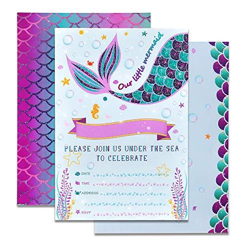 WERNNSAI Meerjungfrau Party Einladungen - 20 Set Magisch Funkeln Ergänze Meerjungfrau Einladungen mit Umschlägen für Kinder Mädchen Geburtstag Baby Shower Hochzeit Meerjungfrau Themen Party Zubehör (Baby Geburtstag Party Thema)