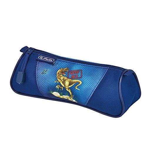 "herlitz 50007639 Schulranzen Flexi Plus, Magnetschloss ""Smart Lock"", Brustgurt, 17-teiliges Schüleretui, Sporttasche, Faulenzer dreikant, Brotdose blau, Motiv: Dinosaur, 1 Stück"