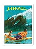 Pacifica Island Art Jaws - Maui, Hawaii - Big Wave Wellenreiten - Vintage Retro Hawaii Reise Plakat Poster von Chas Allen c.1950s - Premium 290gsm Giclée Kunstdruck - 30.5cm x 41cm