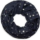 styleBREAKER Loop Schal mit Metallic Sterne All Over Print, Schlauchschal, Tuch, Damen 01017071, Farbe:Midnight-Blue/Dunkelblau