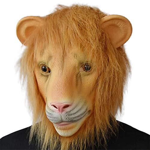 Stadt Party Kostüm Scary - PENGWH Halloween Horror Verrücktes Tier Stadt Löwenkopf Maske Langes Haar Latex Maske Realistische Lion King Head Set Requisiten