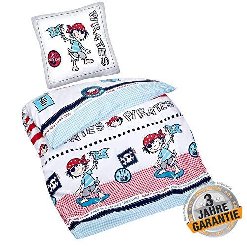 Aminata Kids - Kinderbettwäsche Piraten-Motiv Pirat 135 x 200 cm Kinder, Junge & Jugendliche Bettwäsche-Set aus Baumwolle - bunt - kräftige Farben, weich & kuschelig, - Bettwäsche Pirat Kostüm
