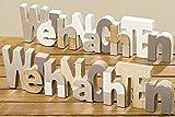 2er SET XL Schriftzug WEIHNACHTEN 30cm Holz natur braun 2 Stück Weihnachtsdeko Tischdeko Weihnachten Christmas Dekoration Fensterschmuck Raumschmuck