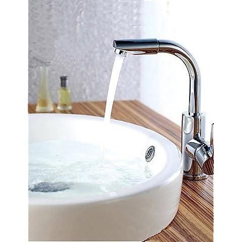 Contemporanea alta arco a collo di cigno in ottone girevole da 360 gradi becco acqua calda e fredda rubinetto della cucina Lavello