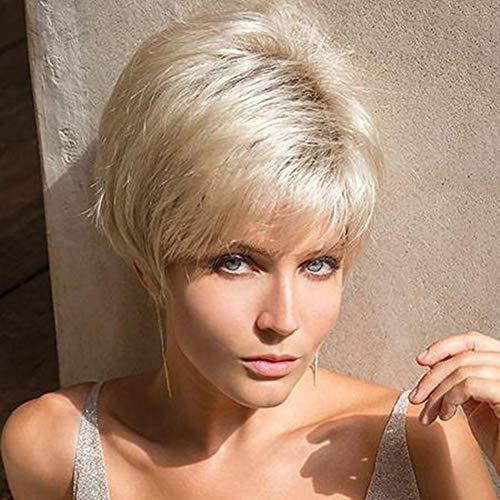 SOWIGS Kurz Direkt Blond Perücken mit Deckel Licht Golden Cosplay Blond Perücke zum Frau Synthetik Cosplay Voll Perücke zum Frau Party 8