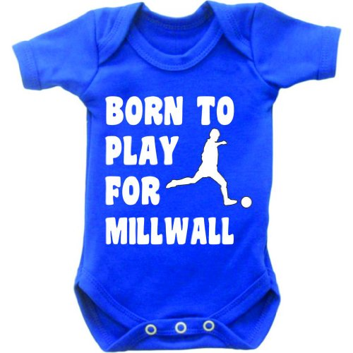 Born To Play Football For Millwall Short Sleeved Baby Bodysuit Romper Vest Grow In Royal Blue & White Motif