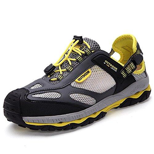 Chaussures d'extérieur pour hommes en cuir chaussures de randonnée respirante de séchage rapide d'absorption de choc cigarette ash