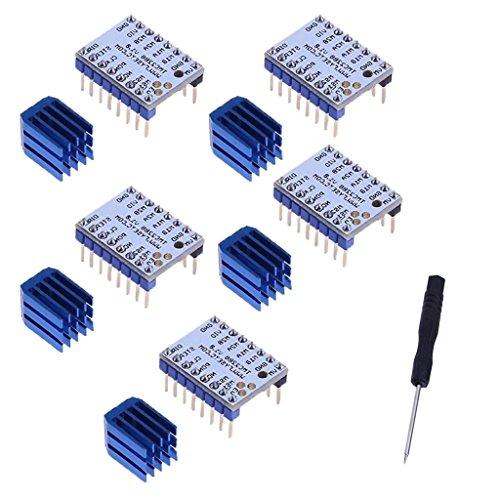 Dolity 5 Stücke Flüsterleise TMC2208 V1.0 Schrittmotortreiber 4 Schichten PCB-Brett Treiber für 3D-Printer Inklusiv Heat Sink Kühlkörper und Schraubendreher