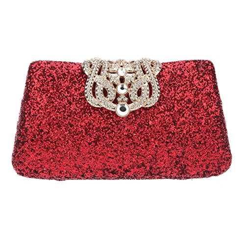 Bonjanvye Shining Crown Glitter Party Purses and Handbags for Womens Silver Red