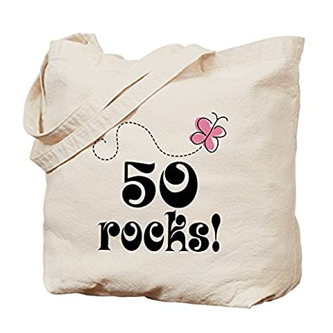 CafePress - Cute 50 Rocks 50Th Birthday - Natural Canvas Tote Bag, Cloth Shopping Bag