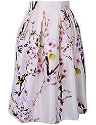 Jupe Mode Féminin imprime floral taille haute plissée Bouffant robe longue-Fleur de Prunier