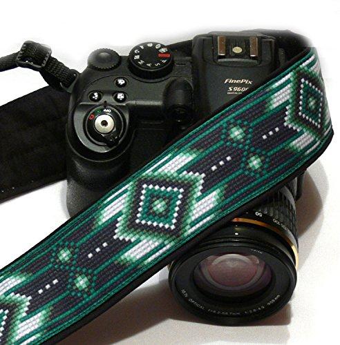 nativi-americani-camera-strap-inspired-cinghia-per-fotocamera-dslr-nero-e-verde-cinghia-per-fotocame