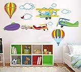 DecoBay Fly with Me Flugzeuge & Heißluft Ballons Boys Raum Kinder-Zimmer Wandtattoo Wanddekoration Aufkleber Neu positionierbar Kindergarten Kinder Stickarounds Transparent abnehmbar