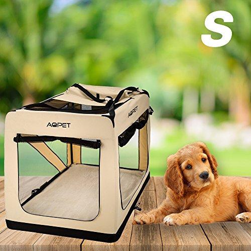 AQPET Trasportino Borsa Pieghevole per Cani Gatti Animali Cuccioli Taglia Small 42x60x42h cm Colore Beige