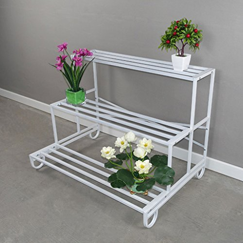 Camel Shopping Mall Flower Rack Metall Multiple Farbe Multilayer Assembly Plant Rack Blumentopf Rack multifunktionale Metall Gestell (Farbe : Weiß, größe : 93*65*70CM)