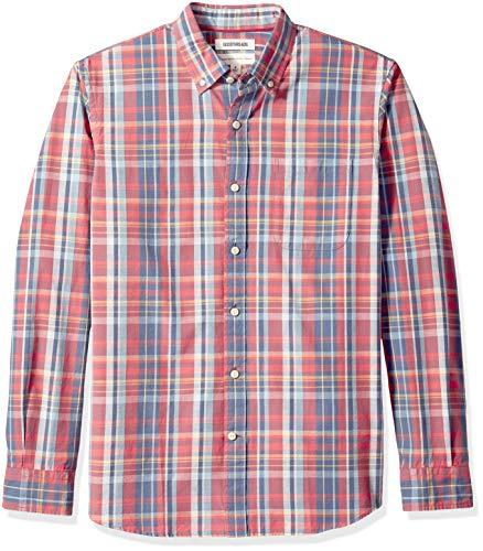 Amazon-Marke: Goodthreads Herren-Langarmshirt, reguläre Passform, Nadelstreifen, aus Chambray, Rot (Red Denim Plaid Red), US XXL (EU XXXL - 4XL) (Herren-nadelstreifen-hemd)