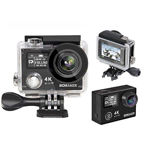 2017 Caméra d'action 4k, Globmall Bomaker K8 Ultra HD Caméscope 14MP Double écran WiFi Imperméable Anti-Shake Caméra 170 degré Grand Angle, 2.4G Télécommande, 2 Rechargeable Batteries + 19 Kits d'Accessoires (Noir)