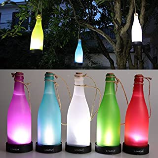 AngelaKerry LED Solar Powered Bottle Light Hanging Patio Lamp Flame Effect Garden Yard Hanging Lamp - Red
