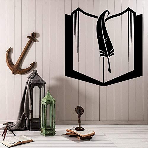 Buch und lesezeichen Vinyl wandtattoo Schule bibliothek klassenzimmer Studie kinderzimmer Dekoration Kunst wandaufkleber 44x42 cm