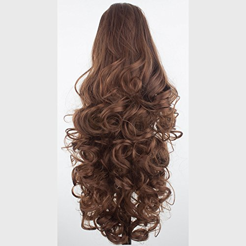 Elegant Hair - 43 cm / 17 pouces queue de cheval frisé – Brun châtaigne - Clip-in pièce de extensions de cheveux réversible - Avec griffe-clip - 30 Couleurs - 220g