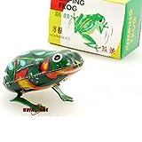 MS082 Jumping Frog Retro Clockwork Wind Up Tin Toy w/Box