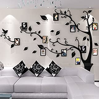 Topmail Large Removable Vinyl 3D Tree Wall Stickers Black Nursery Wall Decals Family Tree Wall Stickers with DIY Photo Frames for Bedding Room Living Room(M, Black Leaves,Right)