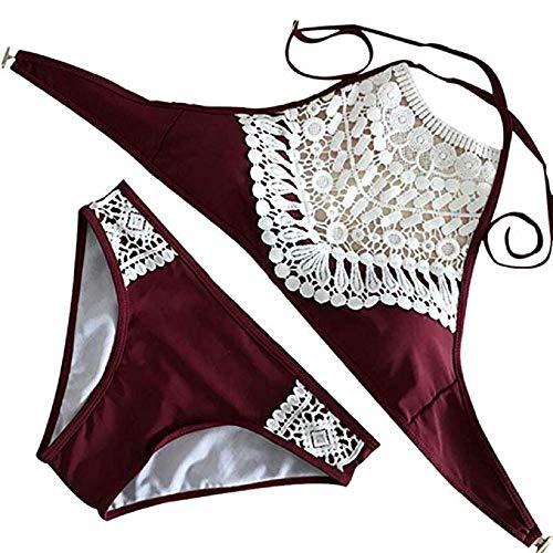 Summer Mae Damen Triangel-Neckholder-bikini Bikini-set Gehäkelt Bademode ,Weinrot ,M