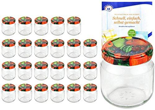 MamboCat 24er Set Rundgläser 212 ml Nieder Deckelfarbe Obst Dekor to 66 inkl. Diamant Gelierzauber Rezeptheft, Marmeladengläser, Einmachgläser, Einweckgläser, Gläser -