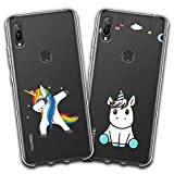 jrester 2 X Coque Huawei Honor 8A / Y6 2019,Licorne Swag + Licorne Bleue Souple...