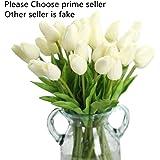 Chunqi Unechte Blumen,Künstliche Deko Blumen Gefälschte Blumen Blumenstrauß Seide Tulpe Wirkliches Berührungsgefühlen, Braut Hochzeitsblumenstrauß für Haus Garten Party Blumenschmuck 10Stück Weiß