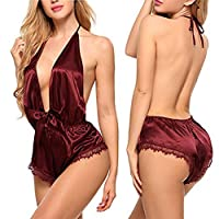 Ronshin Sleepwear Women Sexy Deep V Backless Halter Lingerie Dress Temptation Lace Nightdress Red wine M