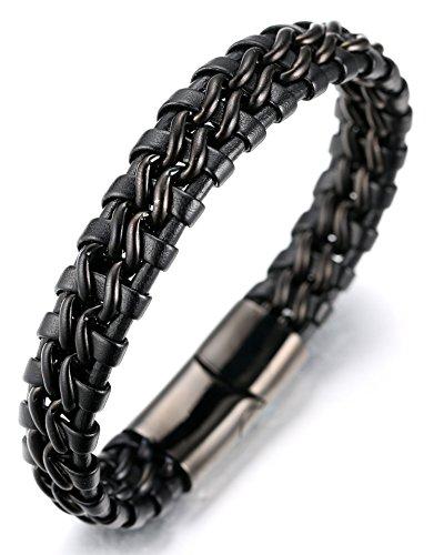 """Halukakah «NIGHTWATCH»:Le Bracelet de l'homme en Cuir Véritable Noir avec double Chaîne Noir,8.46 """"/ (21 .5cm )avec le Boîte-cadeau Gratuit"""