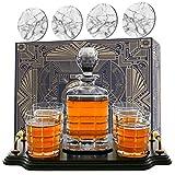 Krown Kitchen - Set con Decanter Whisky. Include: Bicchieri Whisky, sottobicchieri e Base in Legno. Perfetto Regalo per papà. per Bourbon, Scotch, liquori, ECC. 860ml capacità