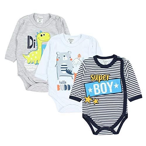 *TupTam Baby Jungen Wickelbody Langarm mit Aufdruck 3er Set, Farbe: Farbenmix 1, Größe: 74*