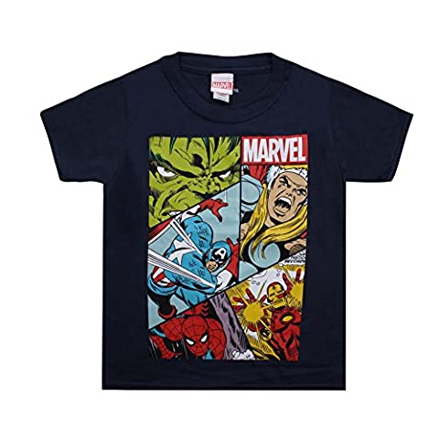 Marvel Boy's Heroes Grid T-Shirt, Blue (Navy), 7-8 Years