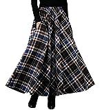 BININBOX Damen Retro Klassiker Eleganter Kariert Faltenrock Wollrock Tellerrock Lange Verdichter Rock Herbst Winter (L( Länge 90cm/ Taille 60-96cm ), Schwarz-Blau)