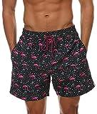 Minetom Badehose Herren Badeshorts Schwimmhose Wassersport Hose Bermudas Sports Shorts Bademode Sommer Mode Druck Strandshorts Flamingos EU L