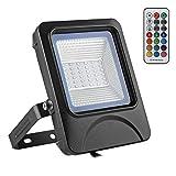 BAODE 20W LED RGB Fluter LED Flutlicht Mit Fernbedienung LED RGB Strahler Licht Scheinwerfer Spotbeleuchtung IP66 Wasserdicht 3 Jahre Garantie