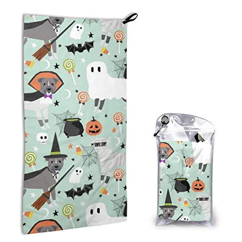 Quick Dry Microfiber Towel Pitbull Halloween Costume Dog Vampire Ghost Mummy Light for Beach Travel Swim Camping 15.7