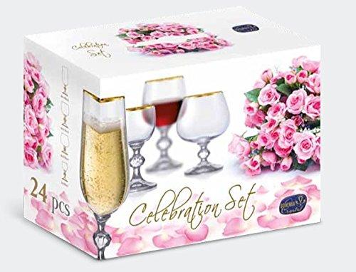 Celebration Set 24 Teilig Hochzeitsgeschenk Sektglser Weinglser Cognacschwenker Likrglser