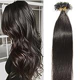 100% Remy Echthaar Extensions Bondings Haarverlängerung Keratin Bonding 100 Strähnen 40cm #1B naturschwarz