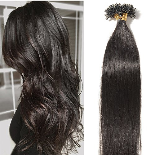 3682c89187546b 100% Remy Echthaar Extensions Bondings Haarverlängerung Keratin Bonding 100  Strähnen 60cm #1B naturs