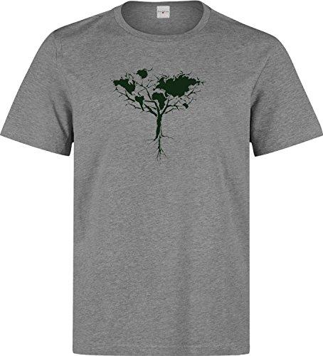 Nothingtowear Erde Karte Baum Dopen t Shirt Herren Baumwoll Grau (L) -
