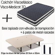 BASE TAPIZADA CON VÁLVULAS DE TRANSPIRACIÓN Y 6 PATAS DE METAL ROSCADAS DE 32CM + COLCHÓN VISCOELÁSTICO DOBLE CARA VISCO MEDICOT 3D-105x190cm