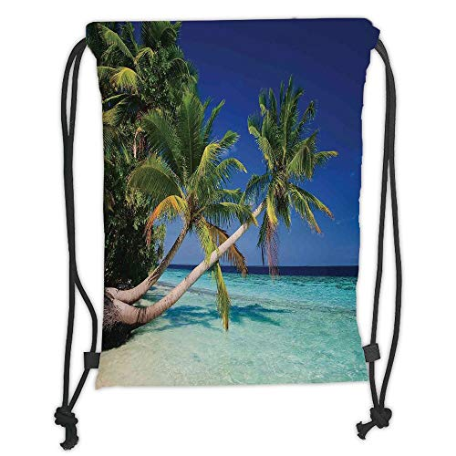 Trsdshorts Ocean Decor,Maldives Bay Summer Pacific Holiday Destinations Decorative, Soft Satin,5 Liter Capacity,Adjustable String Closure,The Stylish Bag for Every D