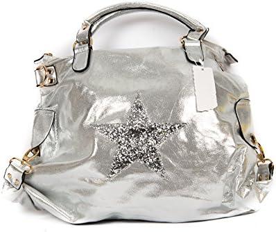 Mujer funda piel sintética Metalloptik Plata XXL Shopper Estrella 51018-3plata