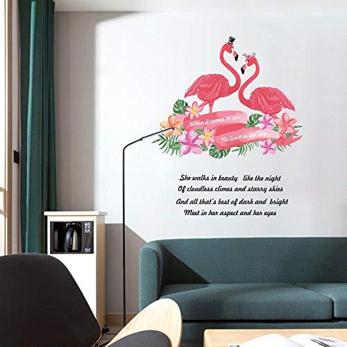 Kinder Tier Wandaufkleber,Cartoon Flamingo Persönlichkeit Stil Landschaftsgestaltung Abnehmbare Wasserdichte Wall Sticker Für Kinder Zimmer Wachstumsdiagramm Kinderzimmer Dekor Wand Aufkleber Kunst