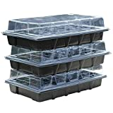 Thompson & Morgan Seed & Plugs Plastic Propagator Growing Tray for Greenhouse & Gardens 3 x 40 Cell Tray with Clear Lids