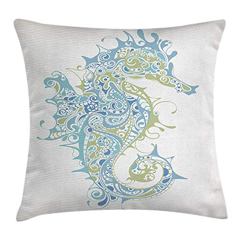 Animal Decor Throw Pillow Cushion Cover, Greek Art Textured Ancient Seahorse Idol of Spiritual Life Cycle Artwork, Decorative Square Accent Pillow Case, 18 X 18 Inches, Light Blue Green